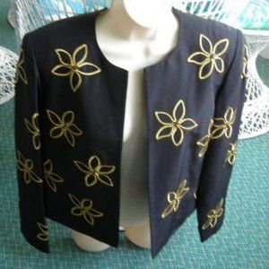 ❤️Maggy London Women's Jacket Lined Black & Gold 6